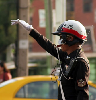 Thai Traffic Policeman Trainee Practicing What He Has Learned in the Advanced Whistle Blowing Course He Must Pass Before Motorists Take Him Seriously